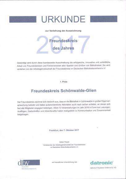 Bibliothek Schönwalde-Glien hat den ersten Förderpreis des Deutschen Bibliotheksverbandes erhalten