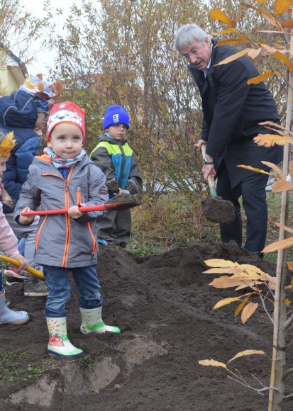 """Falkenseer Kita """"Schwalbennest"""" pflanzt den Baum des Jahres am Spielplatz Schwarzburger Straße"""