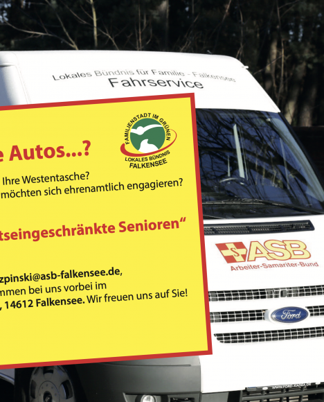 Ehrenamtler in Falkensee dringend gesucht: Fahrservice für mobilitätseingeschränkte ältere Menschen sucht Fahrer